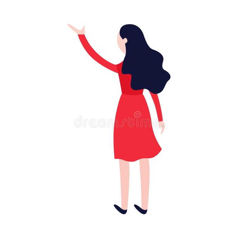 Женщина вектора плоская в красной развевая руке иллюстрация штока