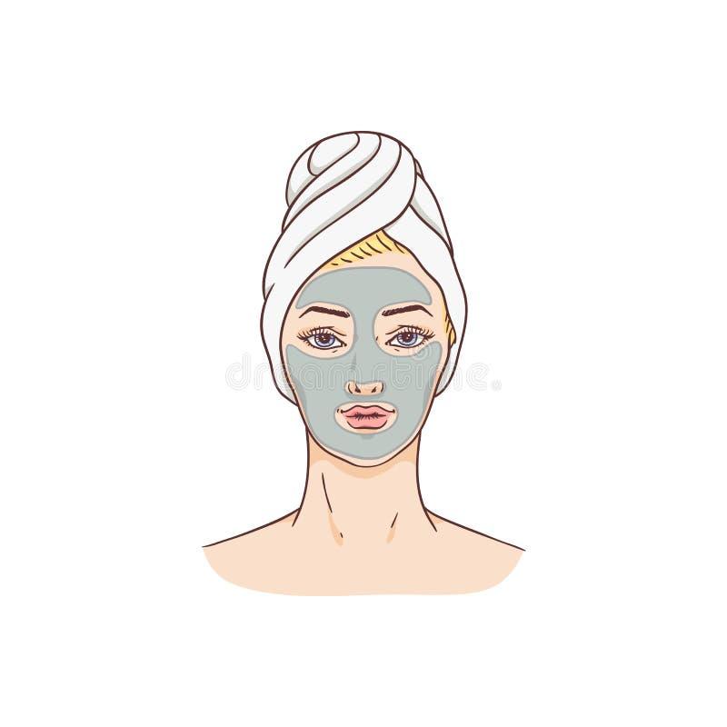 Женщина вектора с лицевой маской, обработкой кожи стороны иллюстрация штока