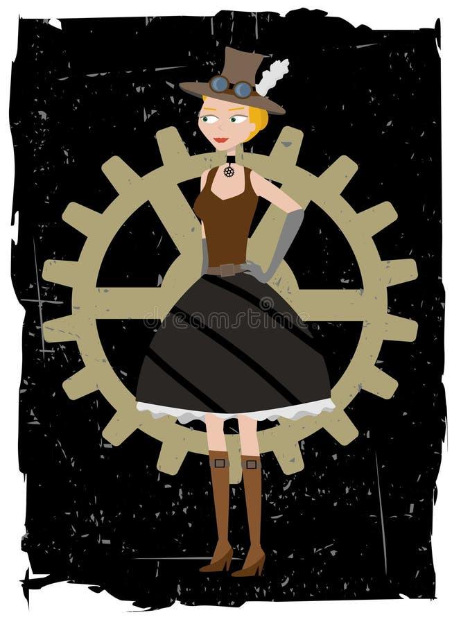 женщина вектора steampunk grunge шестерни предпосылки иллюстрация вектора