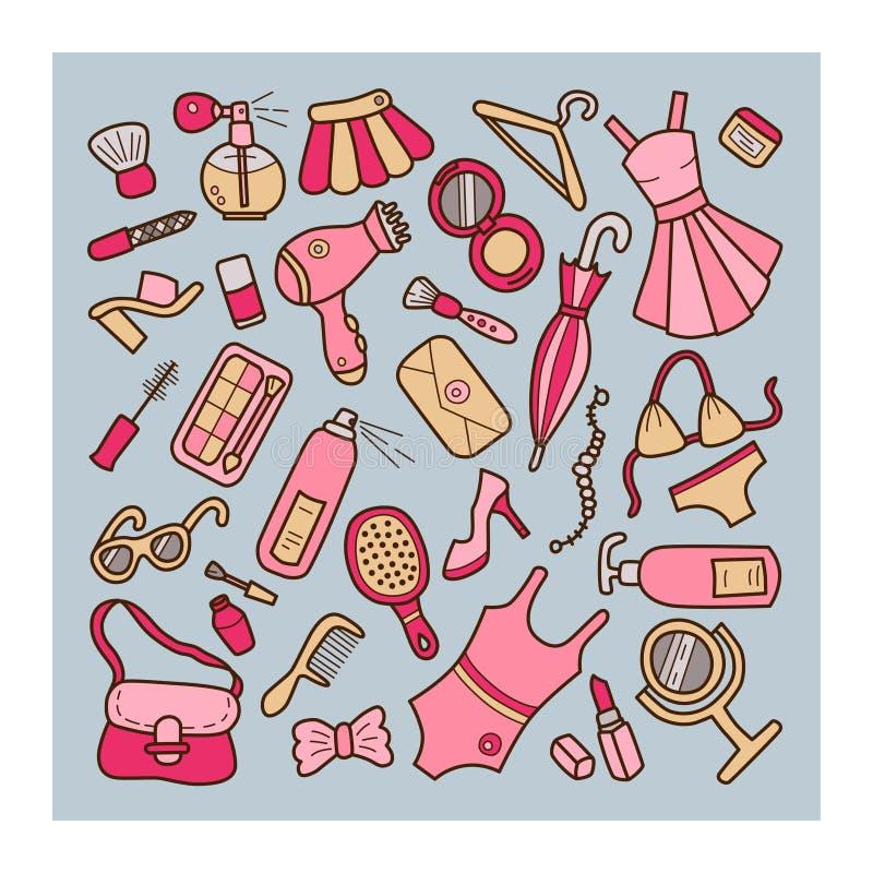 Женщина вектор иллюстрации элементов установленный Стиль Doodle и шаржа цвет иллюстрация вектора