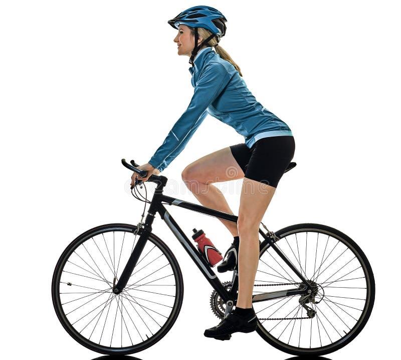 Женщина велосипеда катания велосипедиста задействуя изолировала белую предпосылку s стоковое изображение