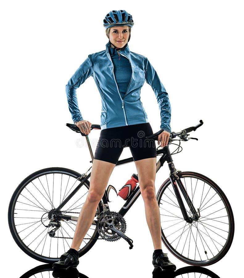 Женщина велосипеда катания велосипедиста задействуя изолировала белую предпосылку s стоковые фото
