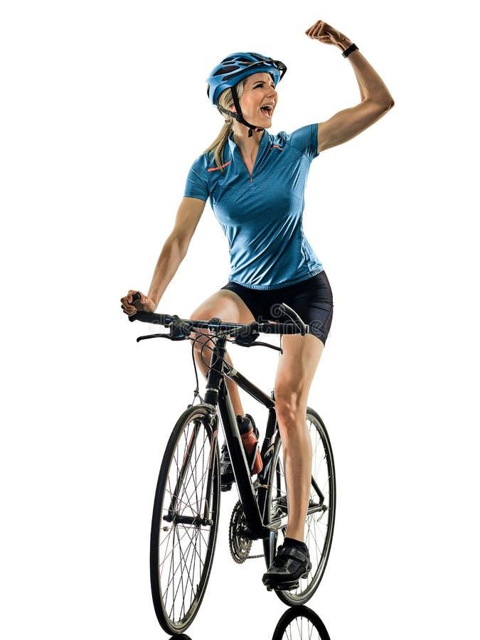 Женщина велосипеда катания велосипедиста задействуя изолировала белую предпосылку c стоковая фотография