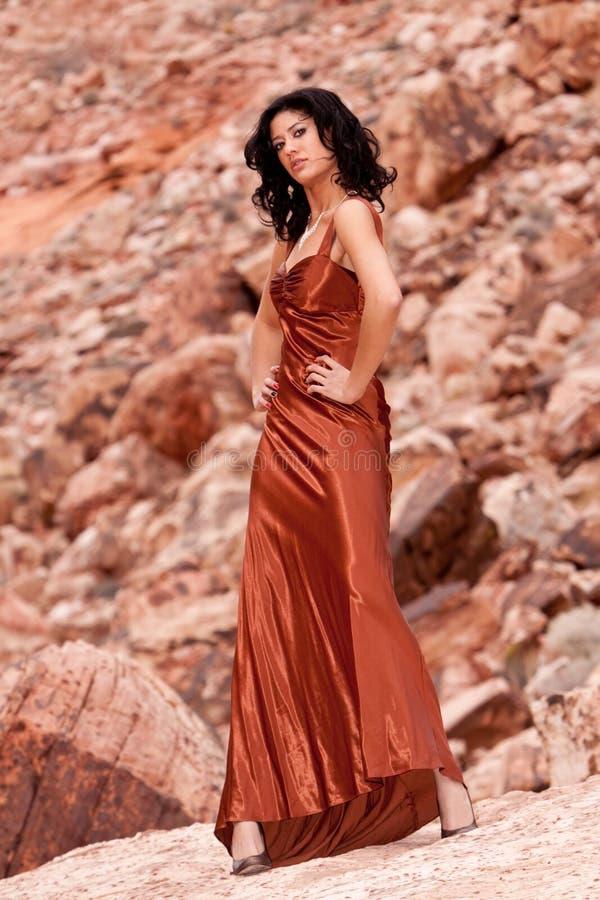 женщина вечера платья стоковые фотографии rf