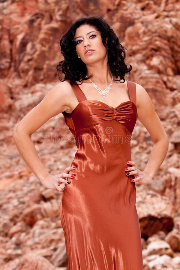 женщина вечера платья стоковая фотография rf