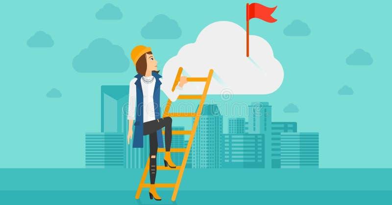 Женщина взбираясь лестница бесплатная иллюстрация