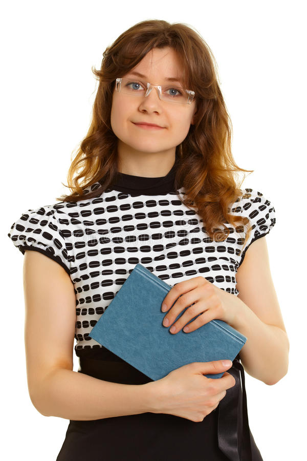 Женщина - взрослый студент с книгой на белизне стоковая фотография rf