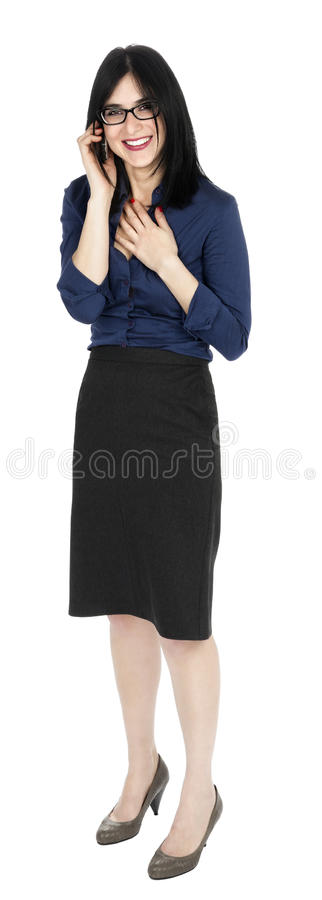 Женщина дела смеясь над на телефоне стоковое изображение