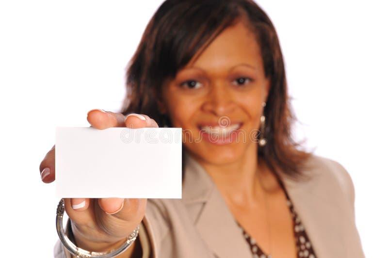 женщина визитной карточки стоковое изображение