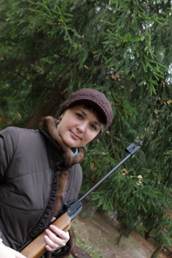 женщина винтовки воздуха пневматическая стоковое изображение