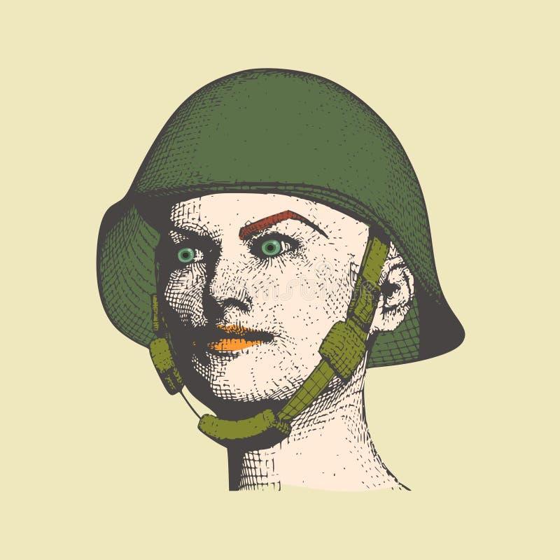 женщина военной формы иллюстрация вектора