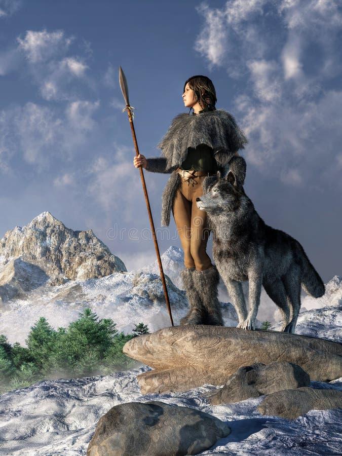 Женщина воина с волком иллюстрация штока