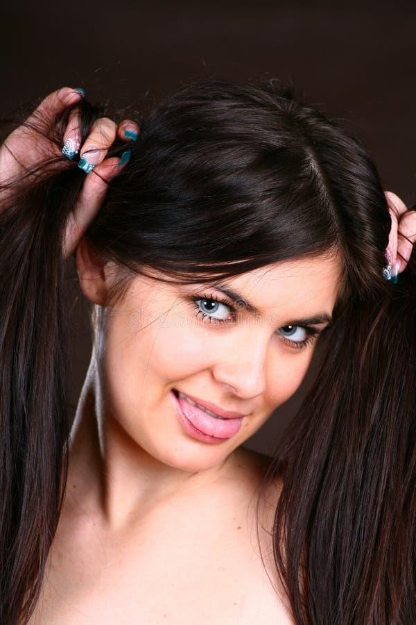 женщина волос брюнет здоровая стоковая фотография rf