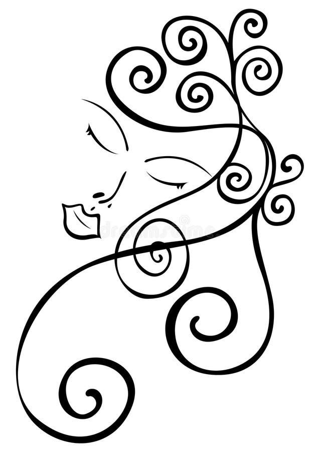 женщина волос стороны мирная волнистая бесплатная иллюстрация
