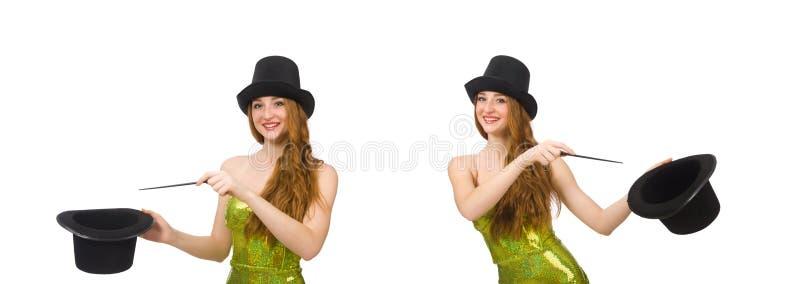 Женщина волшебника изолированная на белизне стоковые изображения rf