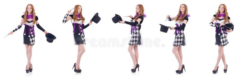 Женщина волшебника с палочкой на белизне стоковые изображения rf