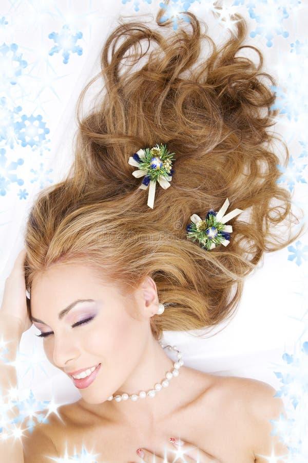 женщина волос украшений рождества симпатичная стоковое изображение rf
