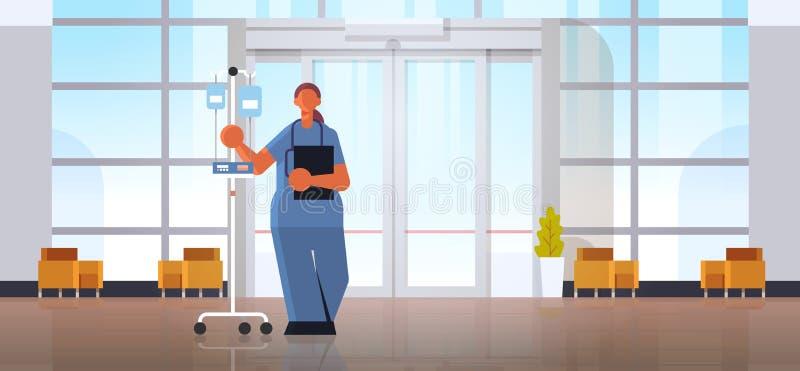 женщина-врач-анестезиолог в униформе, придерживающаяся концепции медицины капптиза современная клиника иллюстрация штока