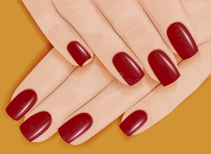женщина вручает manicure красный цвет маникюра также вектор иллюстрации притяжки corel иллюстрация штока