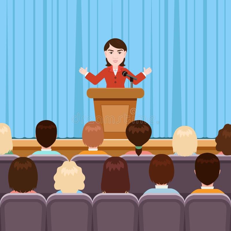 Женщина выступает в конференц-зале, иллюстрации вектора, плоском чертеже шаржа Коммерсантка в костюме стоит на сцене с кратким бесплатная иллюстрация
