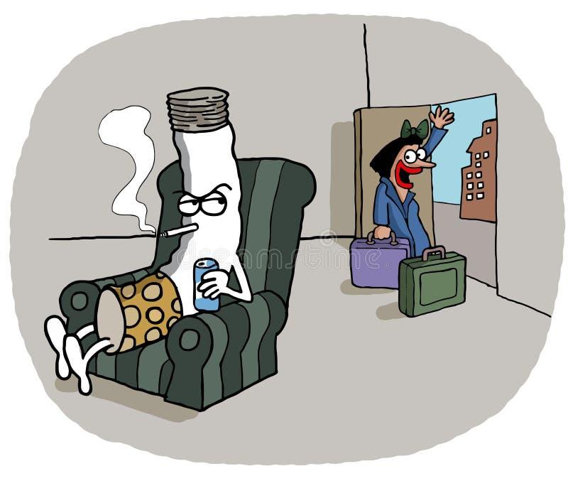 Женщина выходит ее супруг сигареты иллюстрация штока