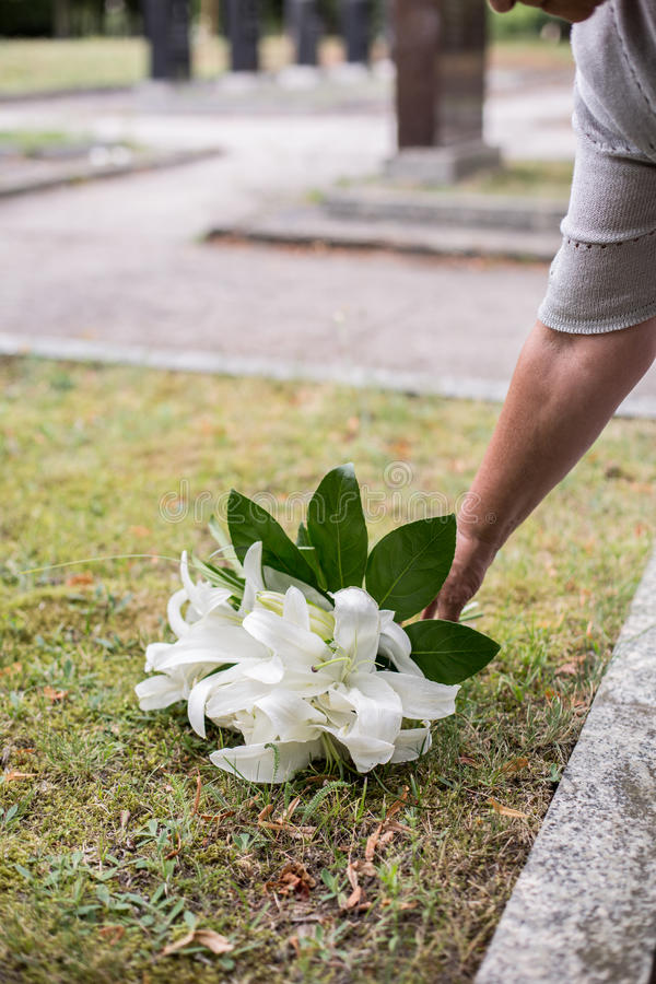 Женщина выходя лилии на могилу стоковое изображение