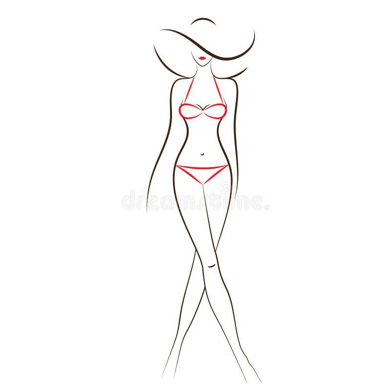 Женщина в бикини иллюстрация вектора