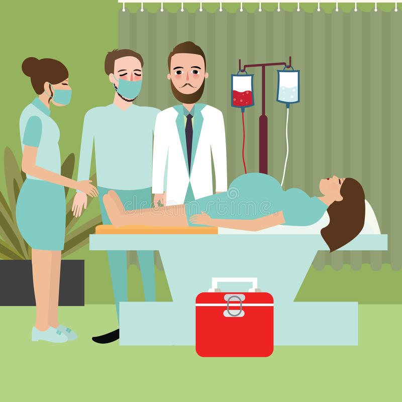 Женщина в больнице подготавливает для поставлять давая процесс работы младенца рождения с доктором бесплатная иллюстрация