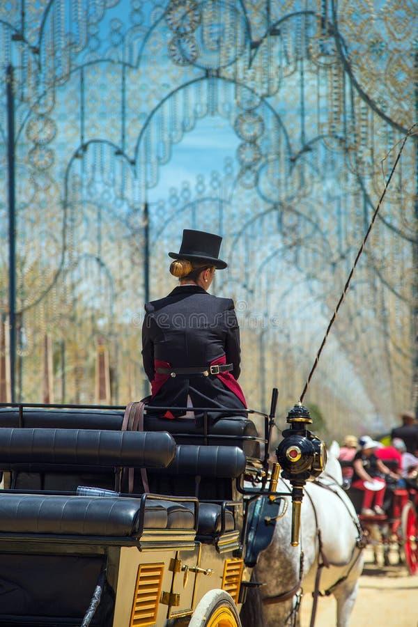 Женщина в верхней шляпе сидя на экипаже лошади стоковое фото
