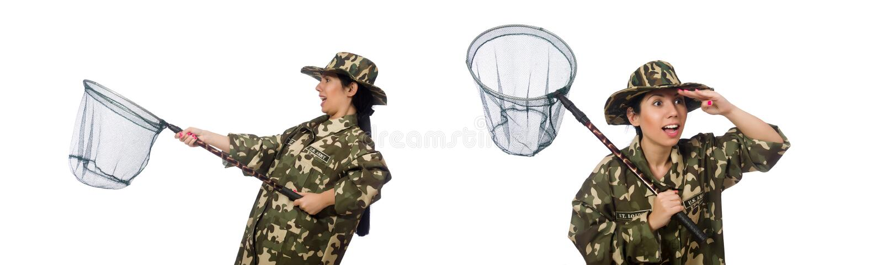 Женщина в военной одежде с улавливая сетью стоковая фотография rf
