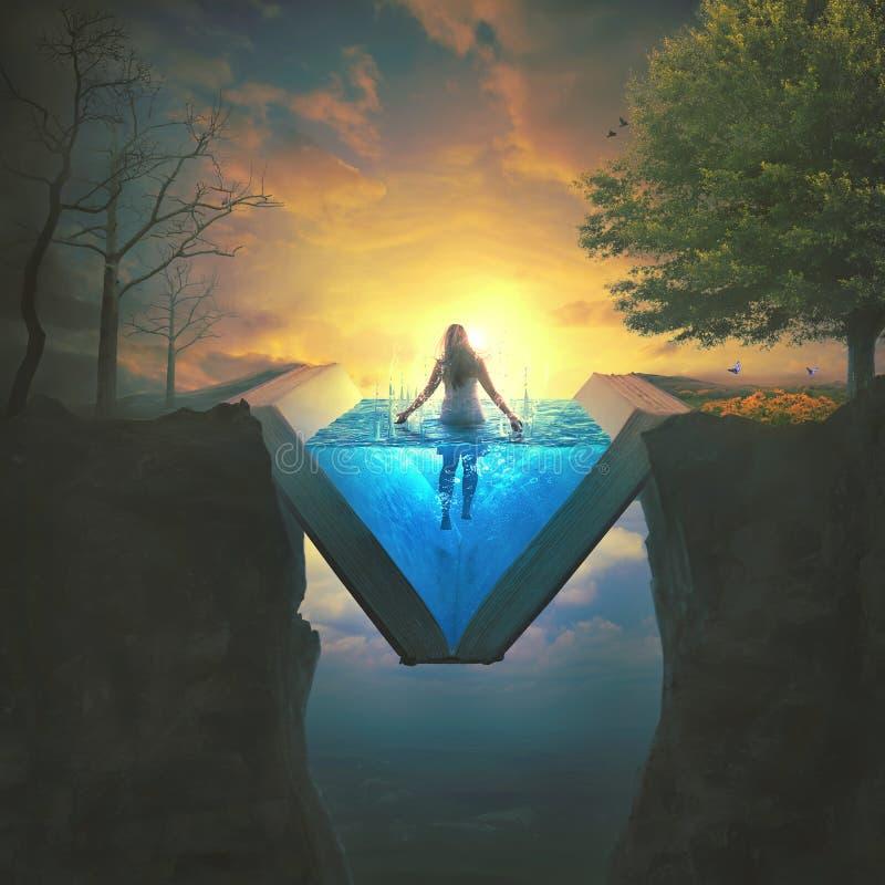 Женщина в воде библии стоковое фото rf