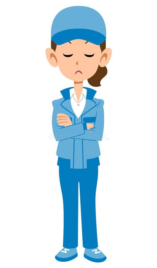 Женщина в голубой мысли рабочей одежды иллюстрация штока