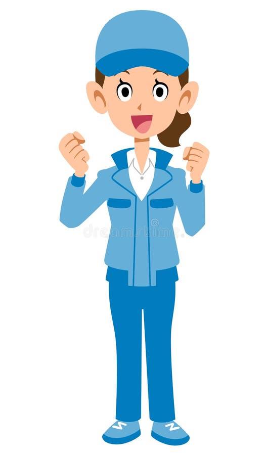 Женщина в голубой представлять workwear иллюстрация вектора