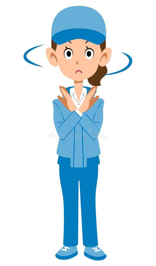 Женщина в голубой рабочей одежде, который нужно отказать бесплатная иллюстрация