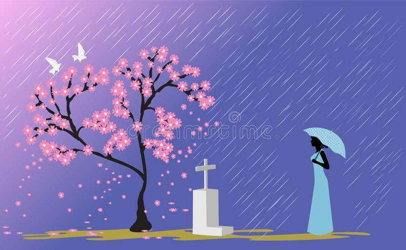 Женщина в голубой юбке держа положение зонтика перед могилой любовника под розовыми вишневыми цветами бесплатная иллюстрация