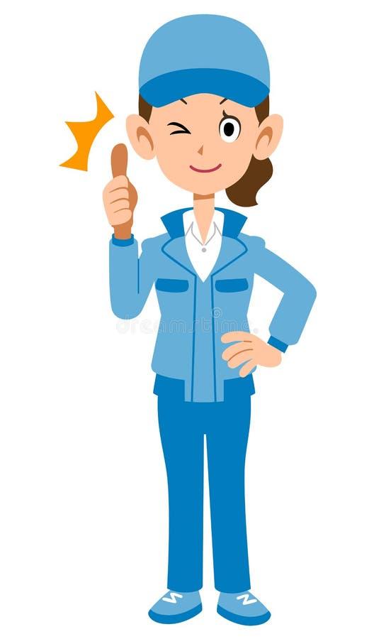 Женщина в голубом workwear к большому пальцу руки вверх иллюстрация вектора