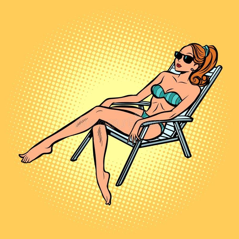 Женщина в загорать купальника бесплатная иллюстрация