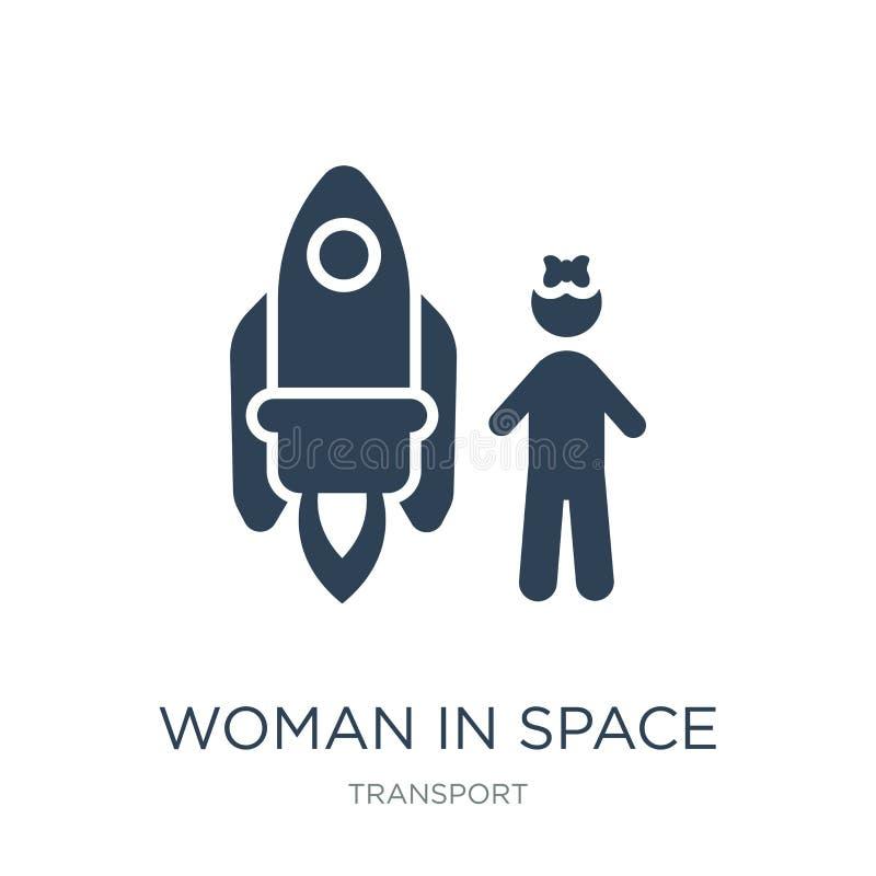 женщина в значке космоса в ультрамодном стиле дизайна женщина в значке космоса изолированном на белой предпосылке женщина в значк иллюстрация вектора