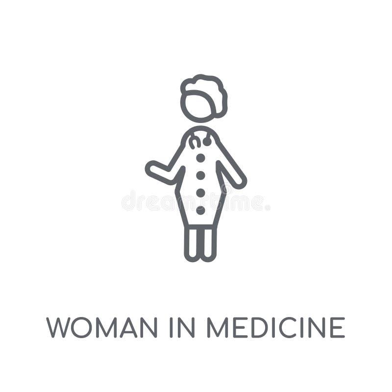 Женщина в значке медицины линейном Современная женщина плана в медицине иллюстрация вектора