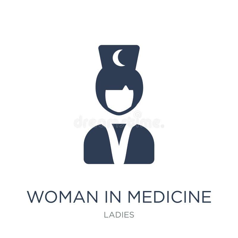 Женщина в значке медицины Ультрамодная плоская женщина вектора в ico медицины иллюстрация вектора