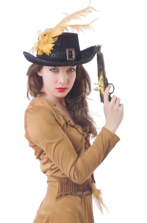 Женщина в изолированном костюме пирата стоковое фото rf