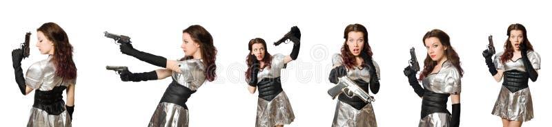 Женщина в концепции техника изолированная на белизне стоковое изображение