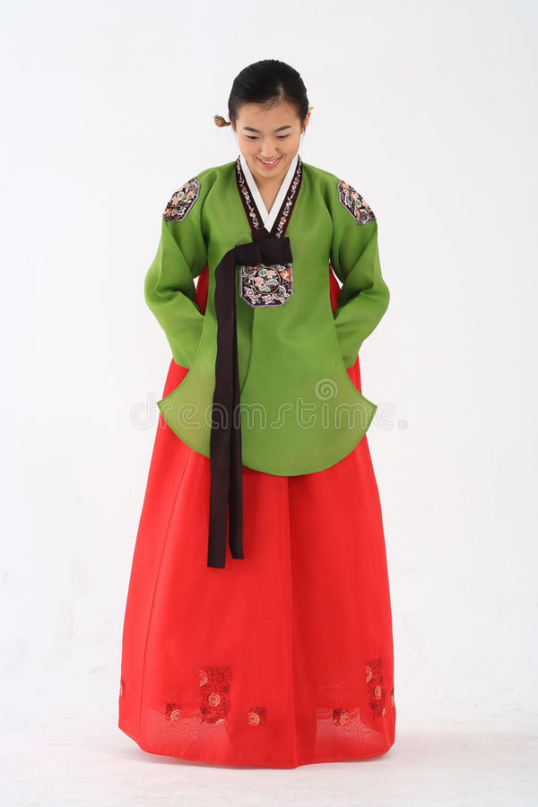 Женщина в корейском платье стоковое изображение