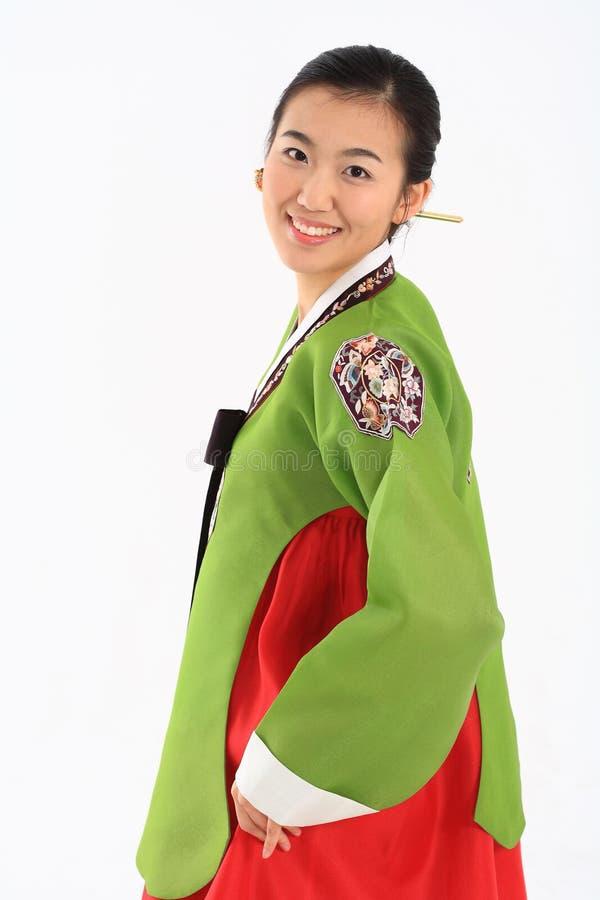 Женщина в корейском платье стоковые изображения rf