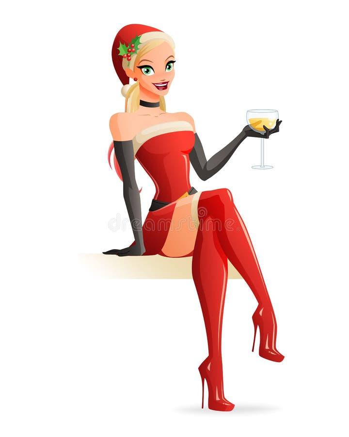 Женщина в костюме Санты рождества сидя с шампанским также вектор иллюстрации притяжки corel иллюстрация вектора