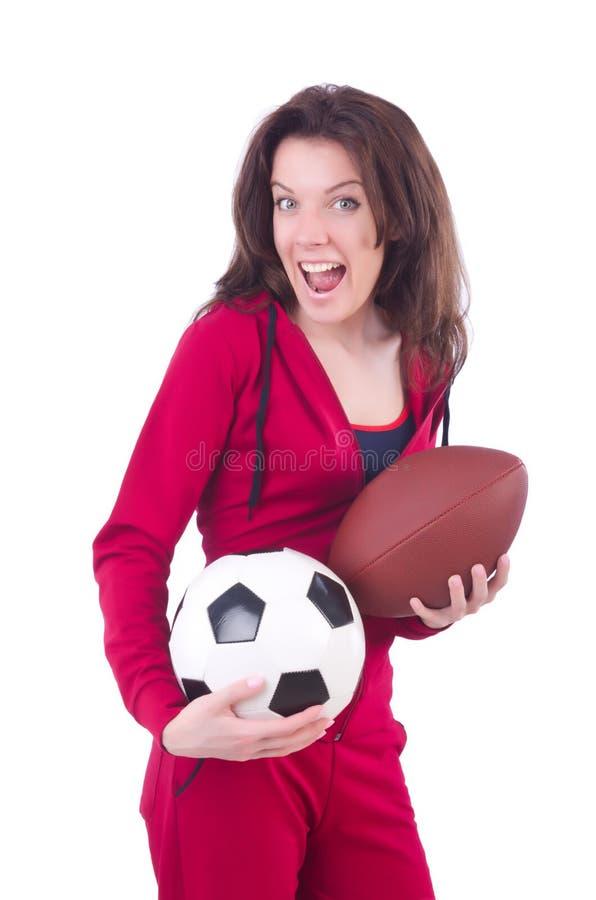 Женщина в красном костюме стоковая фотография rf