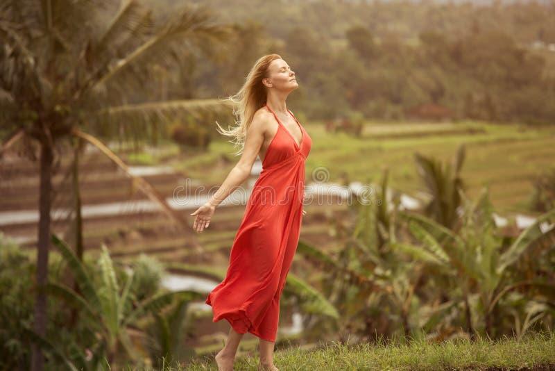 Женщина в красном платье Террасы риса стоковое фото rf