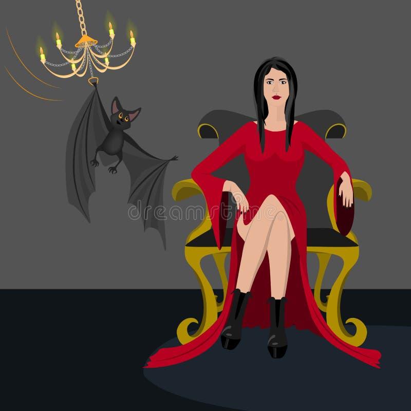 Женщина в красном платье стоковое фото rf