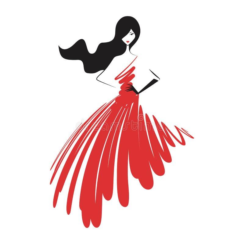 Женщина в красном цвете мантии шарика иллюстрация вектора