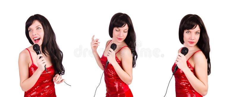 Женщина в красных песнях петь платья стоковые фотографии rf
